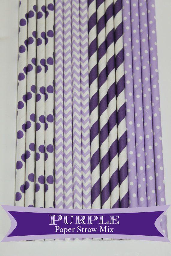 50 Purple Princess Paper Straw Mix PAPER STRAWS birthday party bridal shower event cake pop sticks Bonus diy straws flag