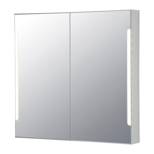 IKEA - STORJORM, Mirror cabinet w/2 doors & light, , The LED light source consumes up to 85% less energy and lasts 20 times longer than incandescent bulbs.