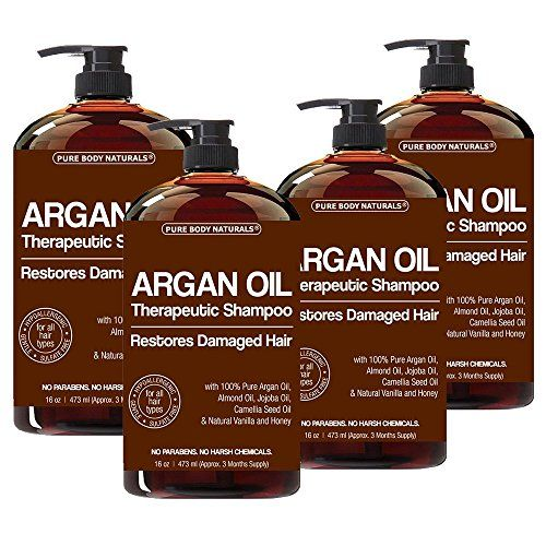 Argan Oil Shampoo Restores Damaged Hair  Argan Oil for Hair Increases Shine and Deeply Nourishes  Safe for All Hair Types and Color Treated Hair  16 oz Bottle with Pump 4 Pack -- Click image for more details.
