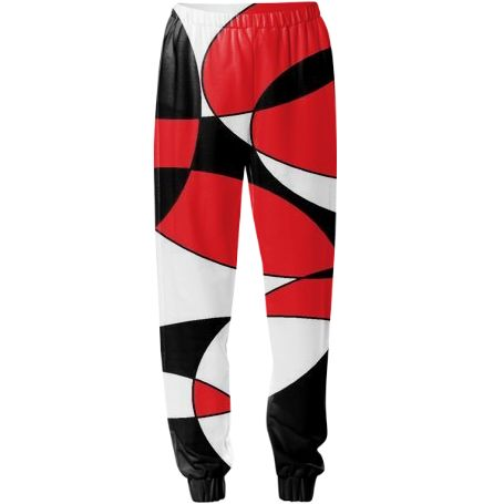 Black, white and red ellipticals sweat pants by Khoncepts