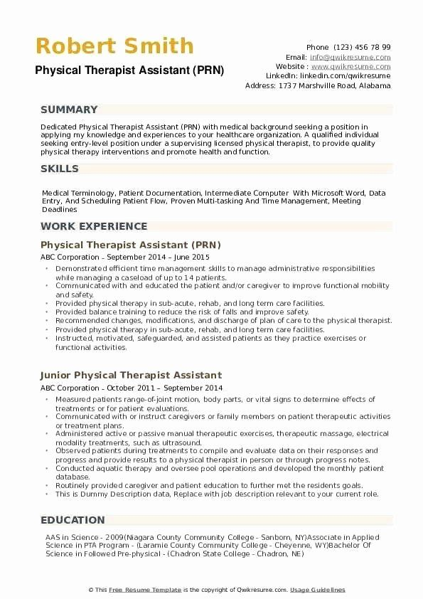 Physical Therapy Assistant Resume Samples Inspirational Physical Therapist Assistant Re Physical Therapist Assistant Physical Therapy Assistant Resume Examples