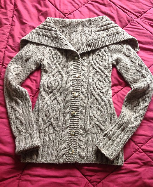 beautiful cabled cardigan with shawl collar --  ChristyLS's DROPS-Durrow-Nubby Cardigan