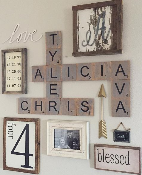 DIY Wood family scrabble tile wall art - so cute!!