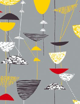 Lucienne Day- I'm interested in the  old shapes contrasting with the delicate line drawings