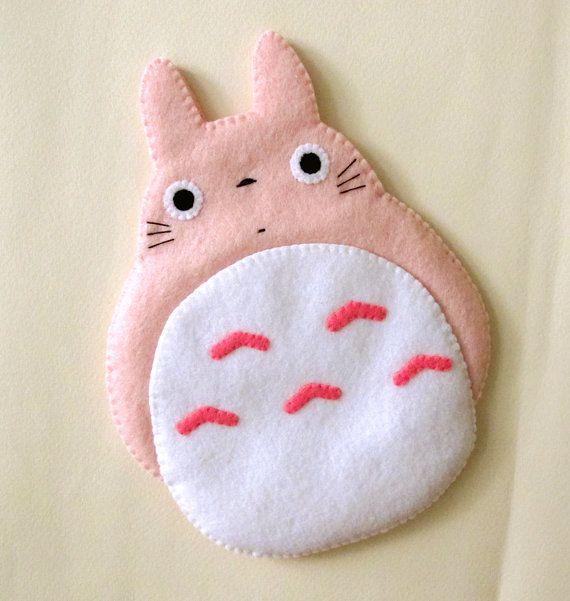Totoro My Neighbour Big Cute Kawaii Pink by craftingwithlove, $25.00