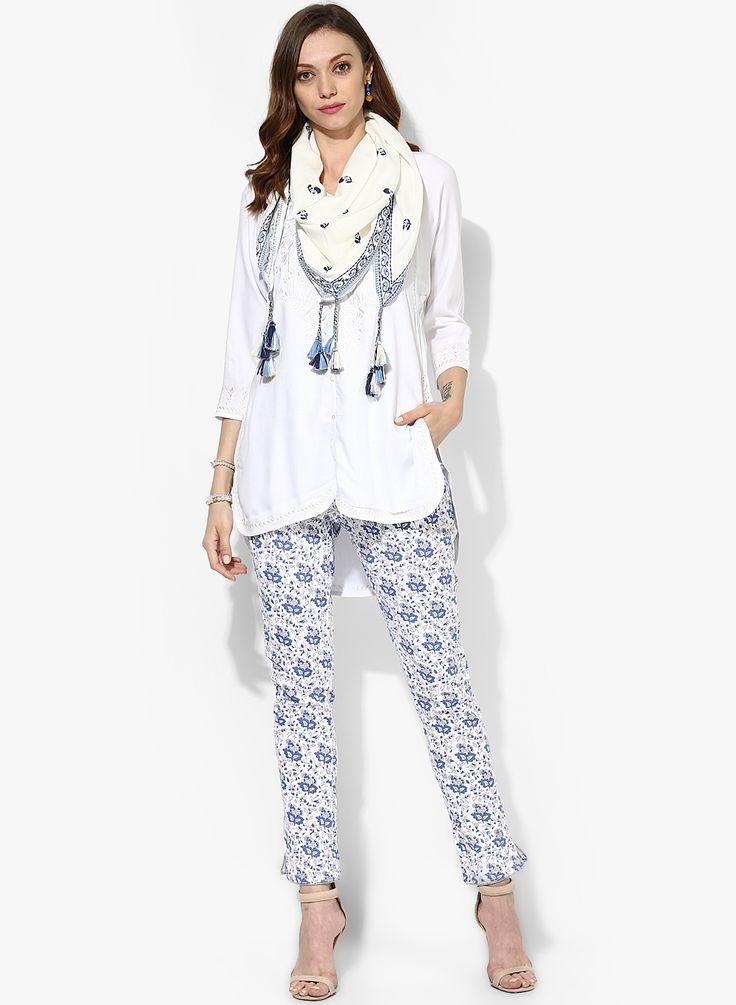 Biba White Embroidered Cotton Kurta Pants Dupatta @LooksGud.in #Biba, #SalwarSuit, #Cotton, #Pants