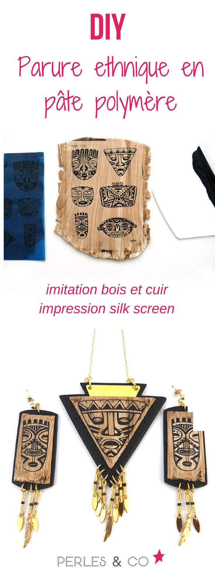 """Comment imiter le bois avec de la pâte polymère? On va vous délivrer le secret dans ce tutoriel!   Réaliser une parure composée d'un sautoir et d'une paire de boucles d'oreilles en imitation bois et cuir grâce à de la pâte polymère.  #Cernit #Fimo #Sculpley #bijou #fantaisie #ethnique #silkscreen """"polymere #bois #sautoir"""