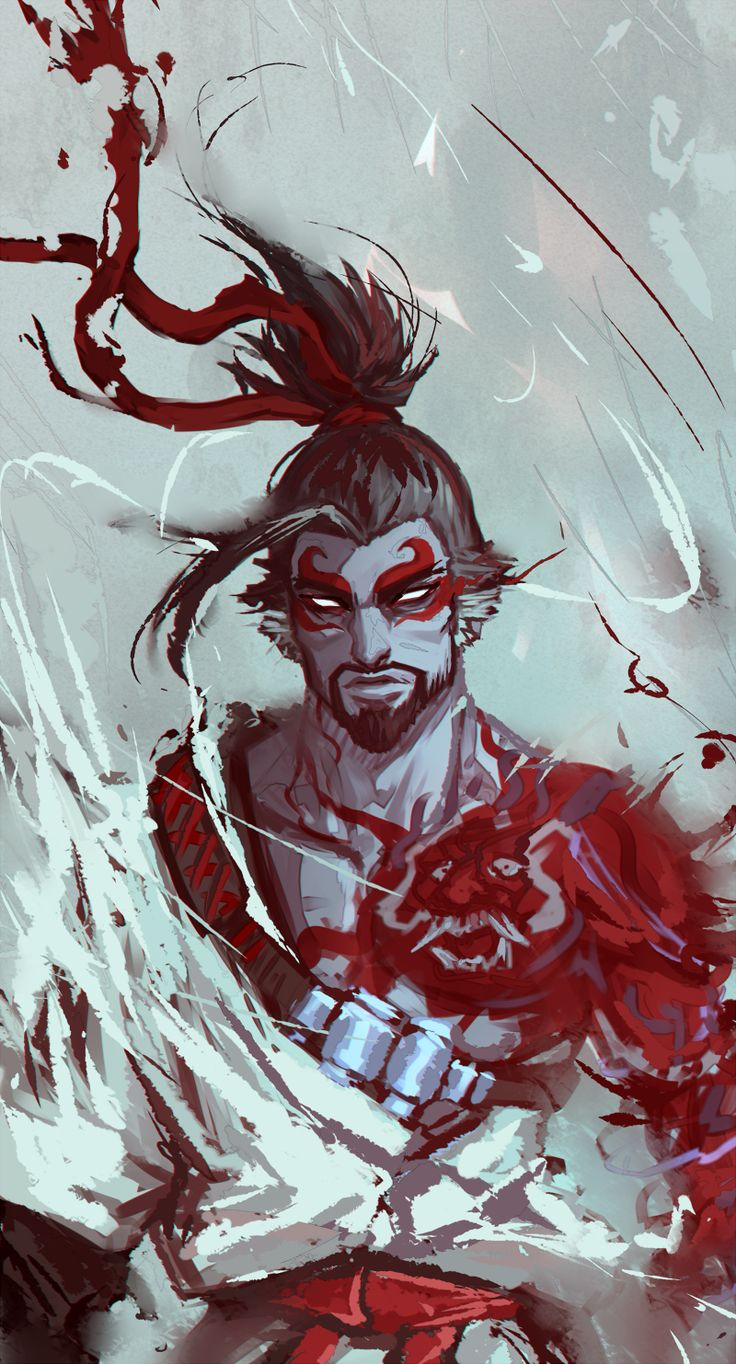 """cheesy0queen: """"Painty painty demon hanzo """""""