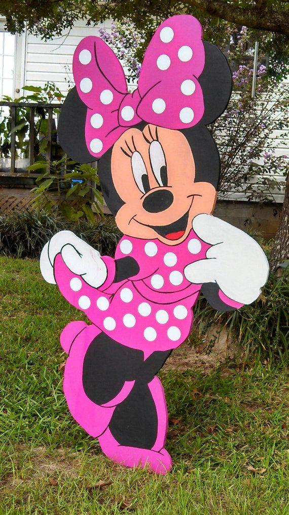 48 Minnie Mouse Wooden Yard Art Decorations by handmadesbyKaren, $60.00