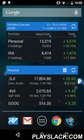 My Stocks Portfolio And Widget  Android App - playslack.com ,  Quickly monitor the stock market, the performance of your stock portfolios and your investment strategy.✓ Multi stock portfolio support - keep track of multiple stock markets or stock portfolios✓ Convert stock portfolios to one currency using real-time foreign exchange rates - mix stock quotes and holdings from different stock markets and display it using a currency of your choice✓ Streaming real-time quotes for US exchanges and…