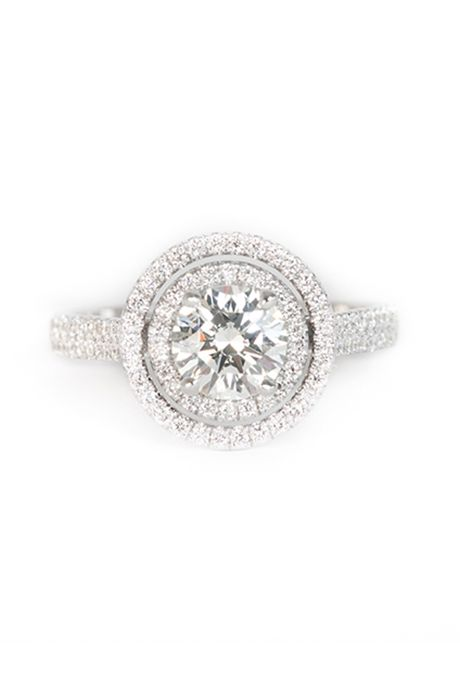 """Rock for Her. """"The Facciano"""" halo engagement ring, price upon request, Rock for Her                                                                                                                                    Photo:  Courtesy of Rock for Her                                                                                                                                                                                    Featured In: Halo Engagement Rings"""