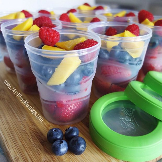 Freezer-safe plastic containers filled with fresh-cut fruit means you're smoothie-ready, any day of the week. Add a couple scoops of protein powder, a splash of almond milk and blend. Your morning just got berry delicious.