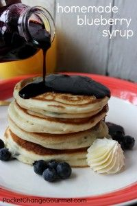 Homemade Blueberry Pancakes with Blueberry Syrup :: Recipe on PocketChangeGourmet.com