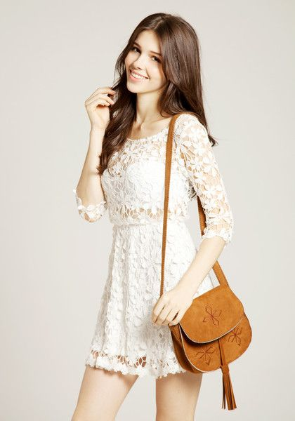 Crochet Floral Crop Sleeve Dress - Beige