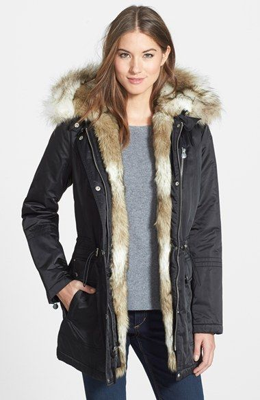 Free shipping and returns on Laundry by Shelli Segal Removable Faux Fur Trim Parka at Nordstrom.com. Gleaming hardware and plush faux fur add urban sophistication to a warm hooded parka cinched with toggled drawstring at the waist.