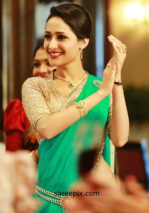 "Pragya jaiswal sarees in telugu movie ""Kanche"". The beautiiful actress looks gorgeous in half sarees."