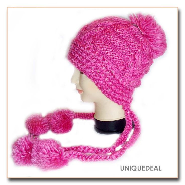 Fashion Cute Pom Pom Knitted Winter Beanie Warm Ski Hat Ear Flap/Fuchsia-A37