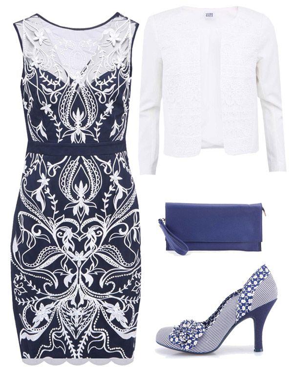 Modré šaty s bílými ornamenty