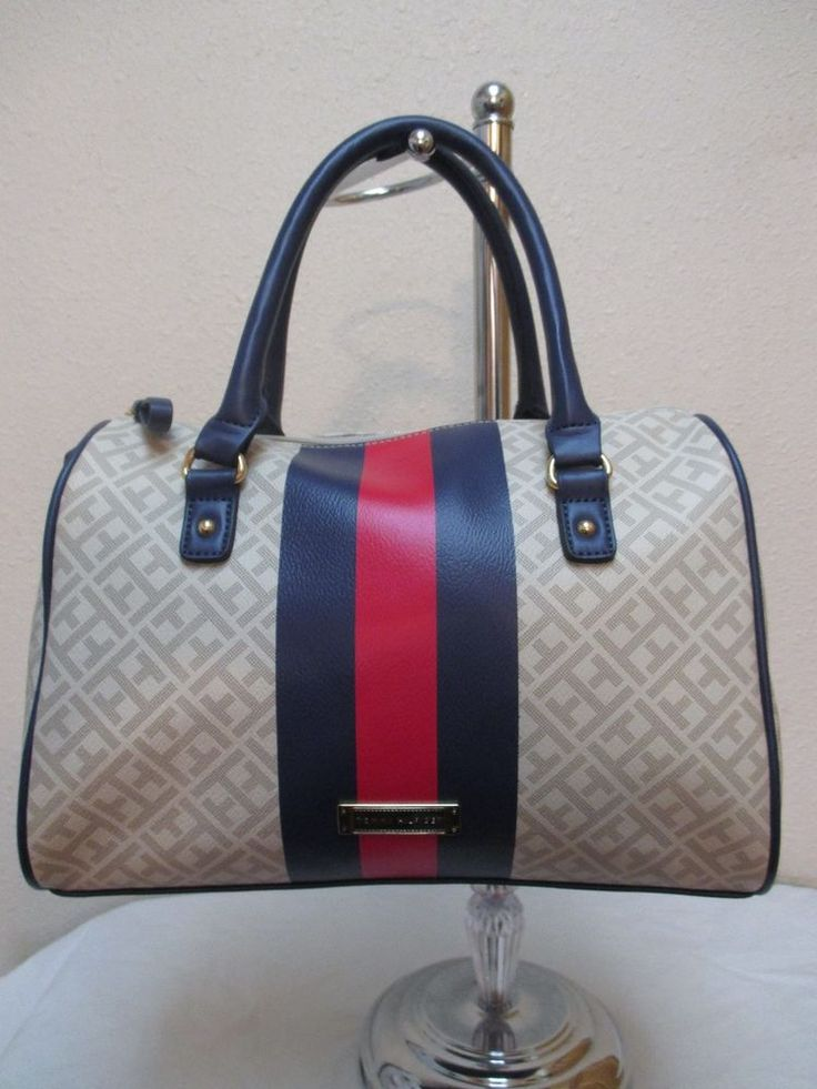 bag tommy hilfiger handbags satchel 692640 247 color beige blue red gold tommyhilfiger satchel. Black Bedroom Furniture Sets. Home Design Ideas