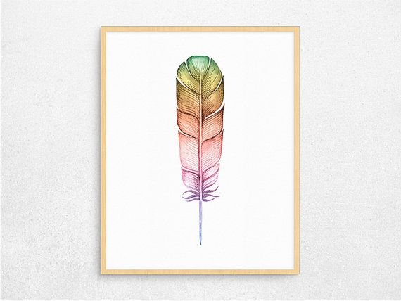 Rainbow Watercolor Feather Digital Poster by PaperIslandDesign