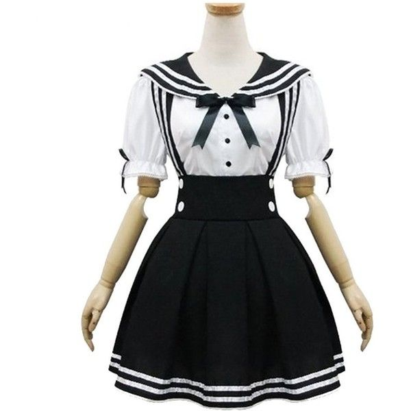 Amazon.com: Japan School Uniform Cosplay Costume Anime Girl Maid... ($17) ❤ liked on Polyvore featuring costumes, french maid costume, cosplay costumes, maid halloween costume, halloween costumes and black widow costume