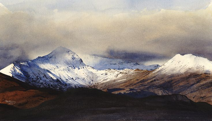Snowdon and Lliwedd from the south, an original watercolour painting by Rob Piercy