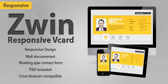 Zwin - Responsive Vcard Template - ThemeForest Item for Sale