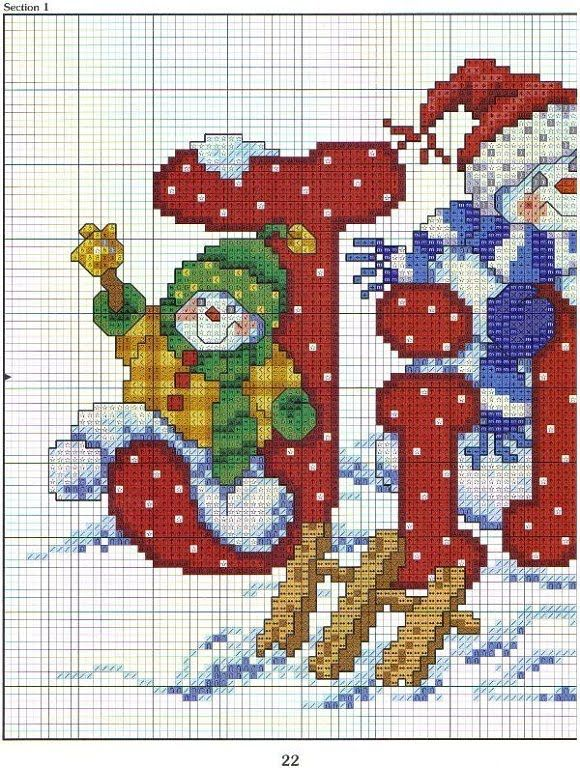 Punto de cruz: papa noel. Link to other pattern including Santa checking his list.