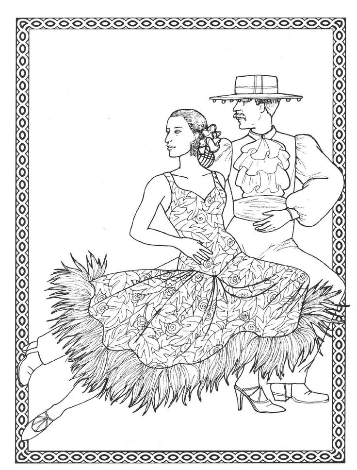 Dancers Coloring Book Costumes For
