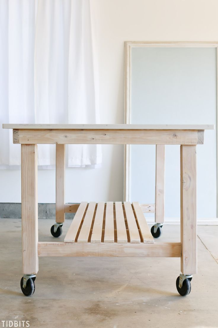 Oh Yes You Can Build This Quartz Countertop Beautiful Diy Rolling Work Table For A Creative Space Kitchen Work Tables Rolling Kitchen Island Diy Kitchen Table