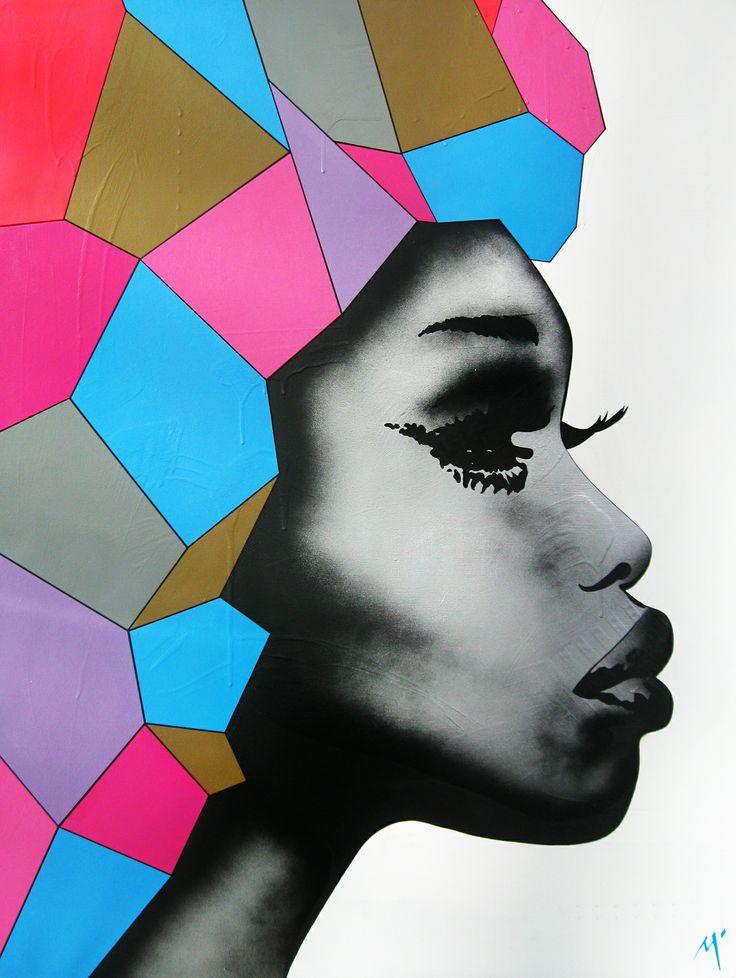 "Original Artwork by Matt Stewart. Size: 90cm (35.4"") x 120cm (47.2""). Acrylic / Aerosol #art #artwork #fashion #home #interiordesign #polygon #popart  www.mattstewart.tv"