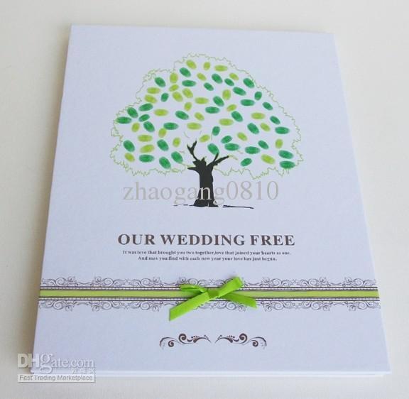 Atacado 2012 New um convidado do casamento livro de impressões digitais Árvore Guestbooks Custom Print favores do casamento, transporte livre, $ 11.65-13.66/Piece | DHgate