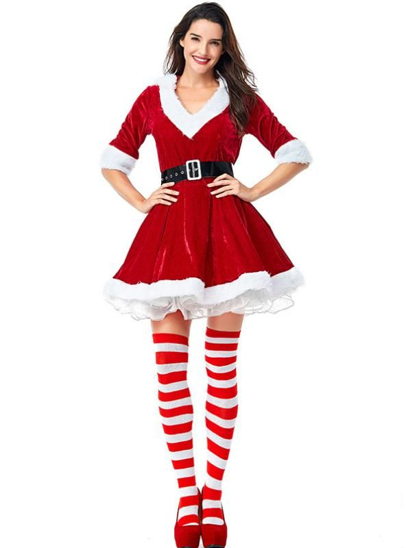 V Necked Unkempt Skirt Party Christmas Girl Outfit Lilacoo