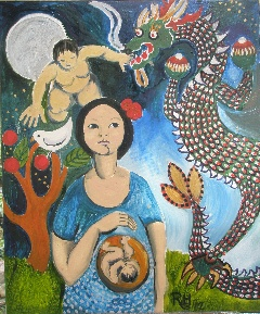 HOPCROFT, ROBYN 'Qiwei Yi Falls Pregnant in the Year of the Dragon' Acrylic on canvas Size: 60x50x15 $500