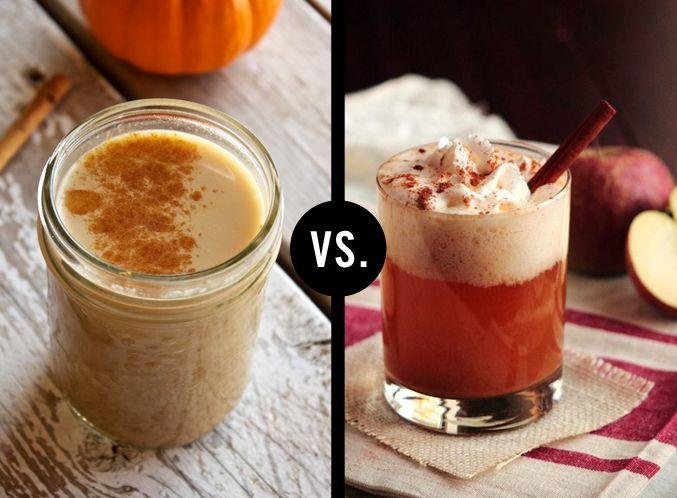 Pumpkin spice latte vs. Apple cider