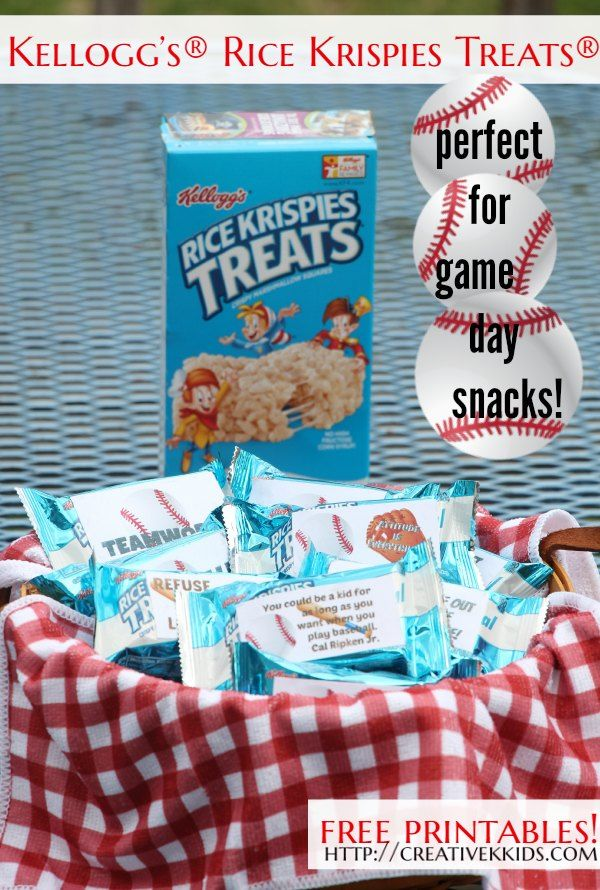 Kellogg's® Rice Krispies Treats® are the perfect snack for baseball/T-ball games!  Free printables are included. AD  GetKreative