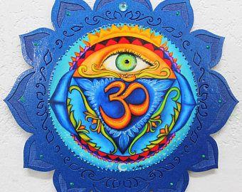 6 º chakra, Chakra de tercer colgante de pared del ojo, la pared colgante, Anja, chakra mandala, Indigo, Lotus placa arte de meditación, Yoga, arte curativo