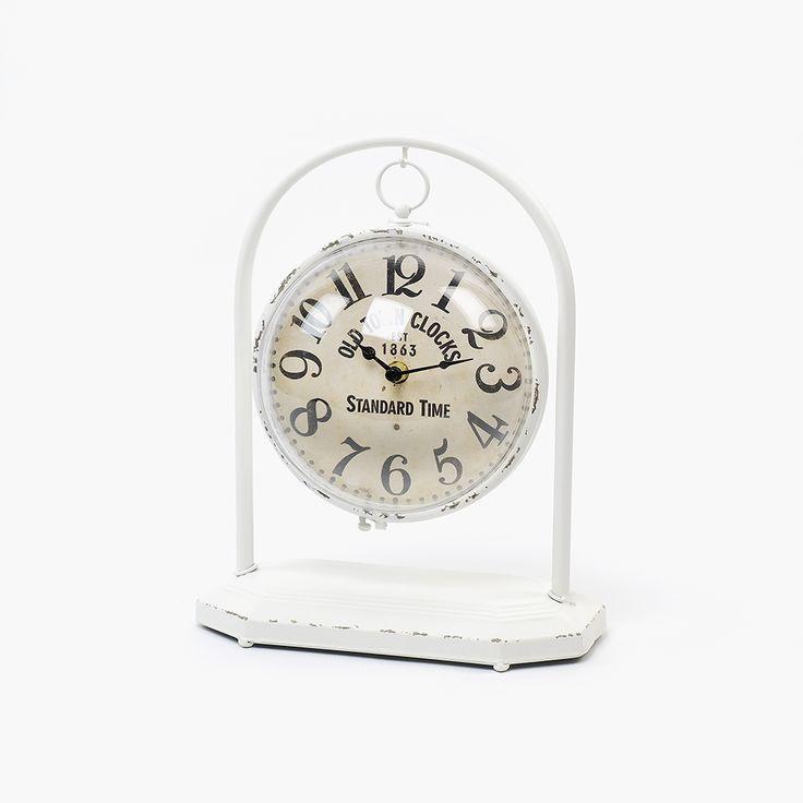Relógio de Mesa Metal Branco I | referência 74073190 | A Loja do Gato Preto | #alojadogatopreto | #shoponline