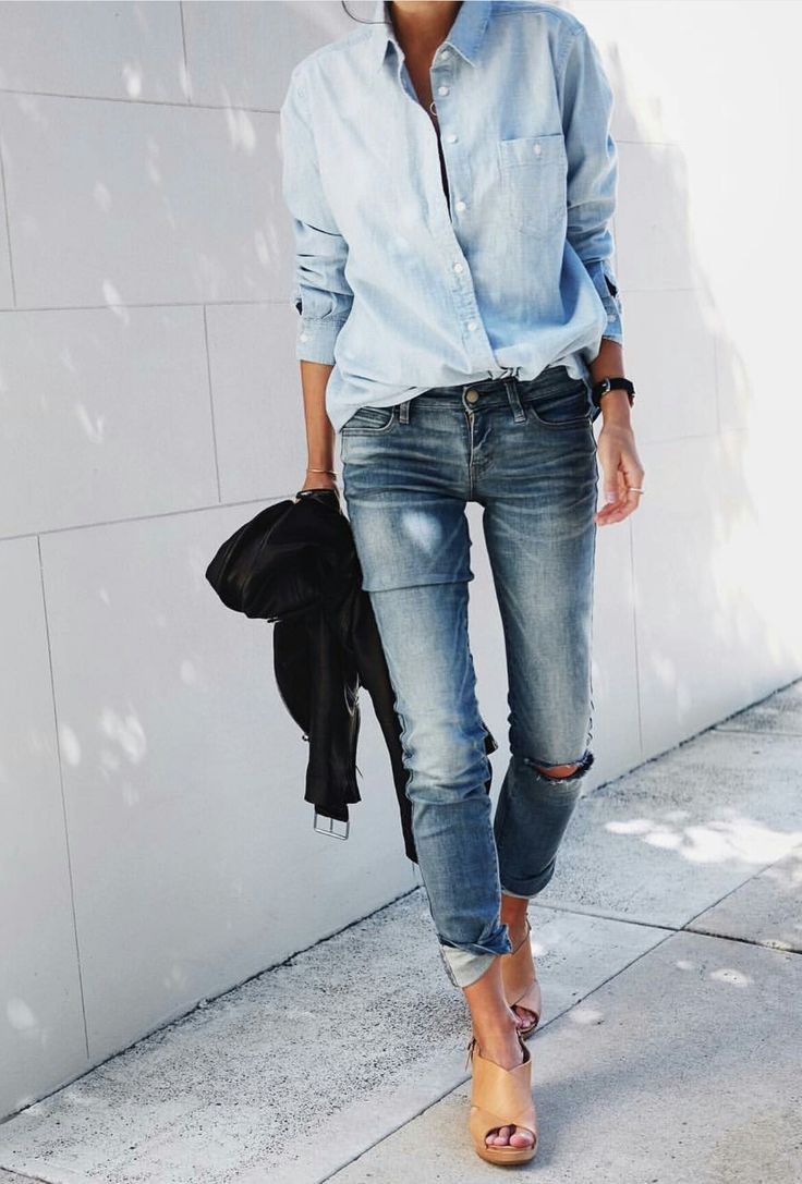 chambray button down with distressed jeans and nude wedge sandals