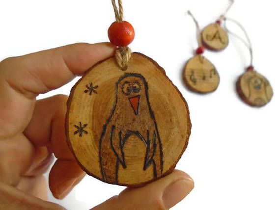 Penguin Ornament  Christmas Penguin  Wooden Decoration