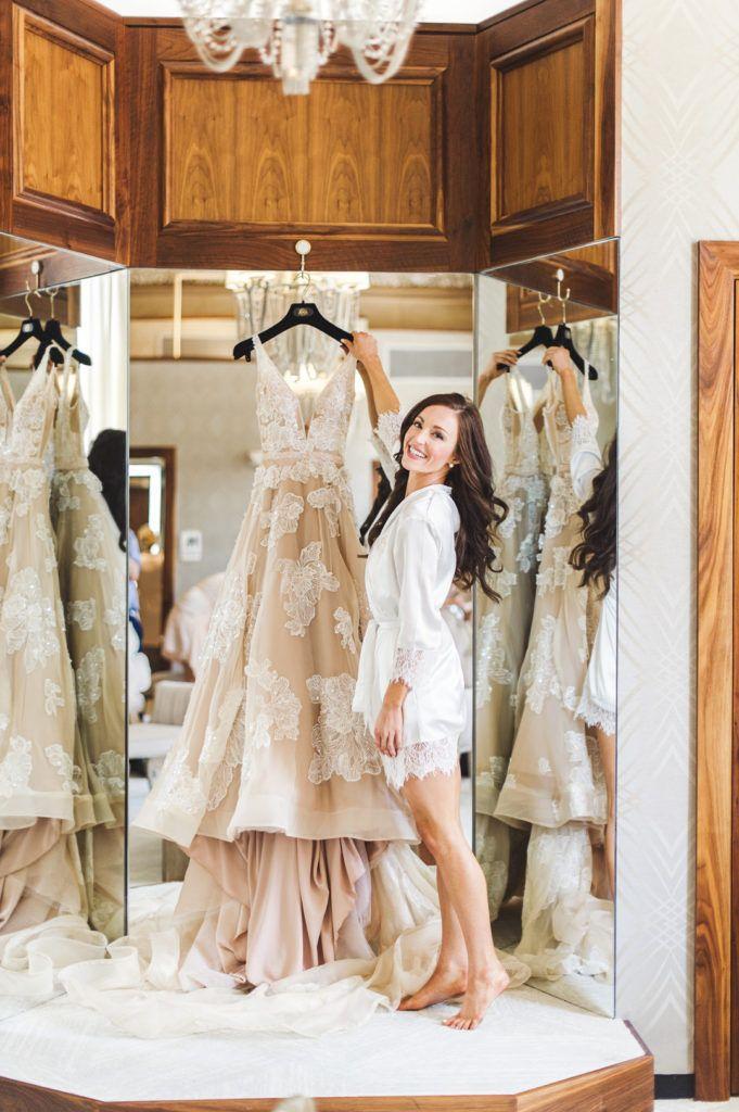 A Bride And Her Wedding Dress Blush Wedding Dress In 2020 Blush Wedding Dress Bride Large Weddings