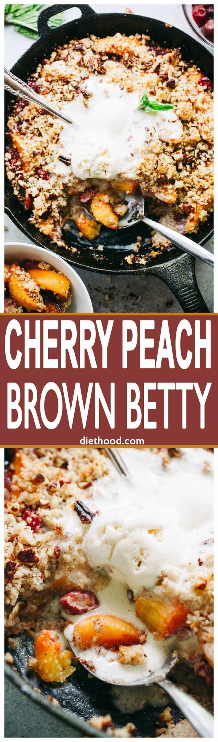 Cherry Peach Brown Betty Recipe – Delicious and easy to make skillet-baked Brown Betty packed with juicy peaches and sweet cherries!