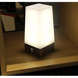 WRalwaysLX 3 Modes Battery Powered Small Table Lamp,Bedside Lamp Wireless PIR Motion Sensor LED Night Light,USE 3x1.5VAAA Battery,Sensitive Portable Moving Lamp for Kids Room, Hallway,Bedroom