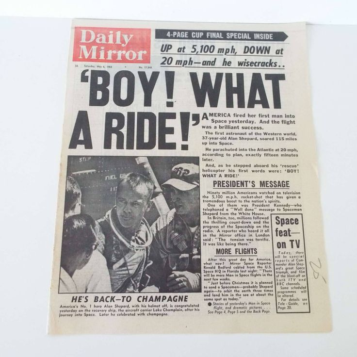Vintage 1961 Daily Mirror Newspaper Cover 1st American Man In Space 'Boy What A Ride' Space Travel Moon Alan Shepard JFK President Kennedy by VintageBlackCatz on Etsy