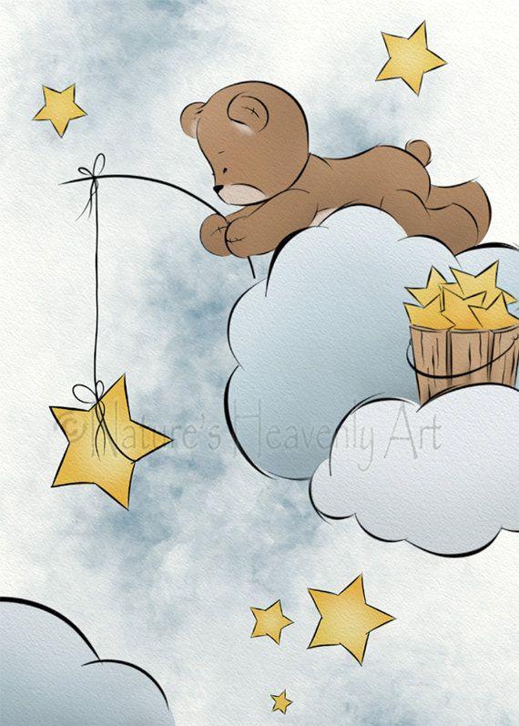 Teddy Bear Baby Girls or Boys Nursery Room by NaturesHeavenlyArt