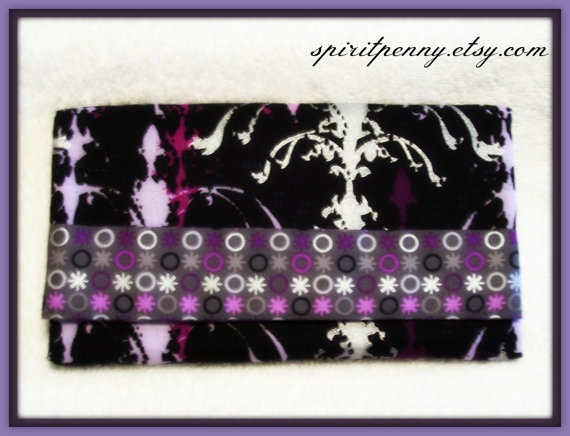 Trifold Fabric Clutch Wallet  Circles and Splashes by SpiritPenny, $33.00