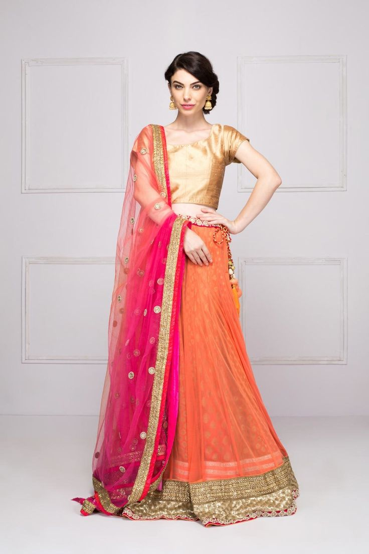 Layered net lehenga set