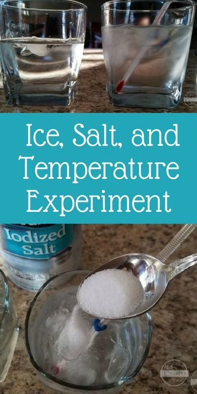 Ice, Salt & Temperature Science Experiments for kids - this simple science project is a fun experiment to try at home for preschool, kindergarten, first grade, and 2nd grade students.