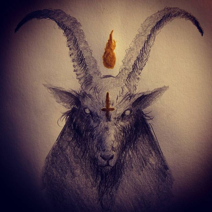 Black goat by Ωmega Black (@ omega_black_art) #demonic #demon #satanic #horror #darkart #drawing #illustration #art