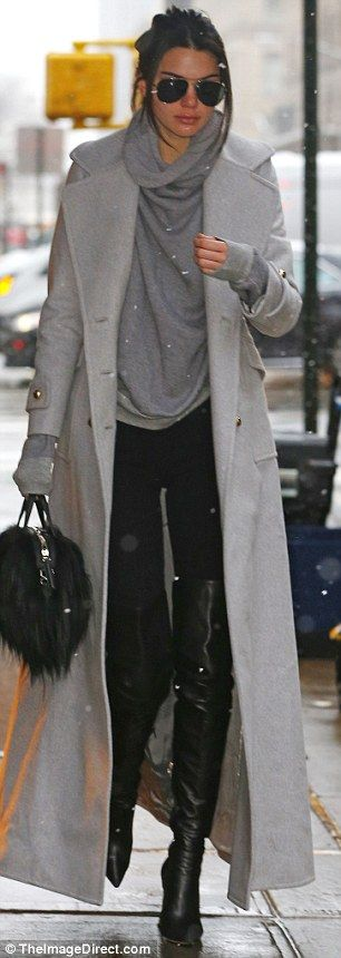 Ready for a Vogue shoot? The Estee Lauder model was stylish as she layered on the winter clothes